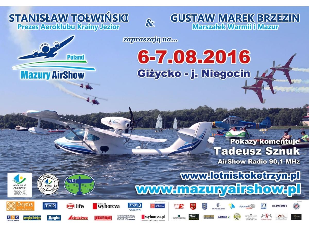 Plakat - zaproszenie na Mazury AirShow 2016